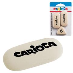 Резинки стирательные CARIOCA (Италия), набор 3 штуки, 2 овальные + 1 треугольная, белые, блистер