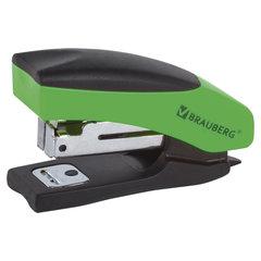 """Степлер №10 МИНИ BRAUBERG """"Soft"""", до 12 листов, с резиновой накладкой и антистеплером,черно-зеленый, 226858"""