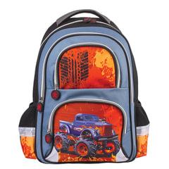 """Рюкзак BRAUBERG, с EVA спинкой, для учеников начальной школы, """"Монстр-трак"""", 38х30х14 см"""