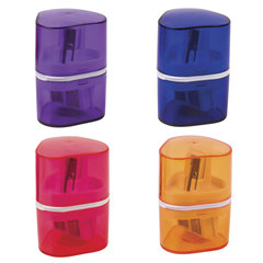 """Точилка BRAUBERG """"Case"""" с контейнером, пластиковая, треугольная, двухсторонняя, 3 отверстия, ассорти, 226943"""