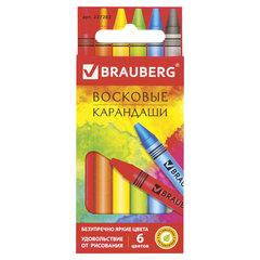 "Восковые карандаши BRAUBERG ""АКАДЕМИЯ"", НАБОР 6 цветов"