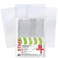 Папки-файлы перфорированные ЭКОНОМ, А4, STAFF, комплект 100 шт., 22 - 25 мкм, 227374