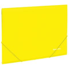 """Папка на резинках BRAUBERG """"Neon"""", неоновая, желтая, до 300 листов, 0,5 мм, 227461"""