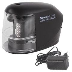 Точилка электрическая BRAUBERG, питание 220 В или 4 батарейки АА, надежный фрезерный механизм, 227565