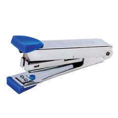 Степлер №10 металлический BRAUBERG, до 15 листов, с антистеплером, синий