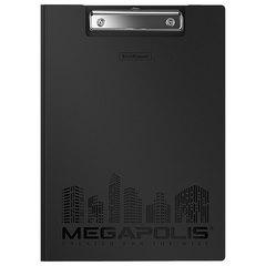 """Папка-планшет ERICH KRAUSE """"Megapolis"""", А4 (320х227 мм), с прижимом и крышкой, пластиковая, черная, 1,3 мм"""