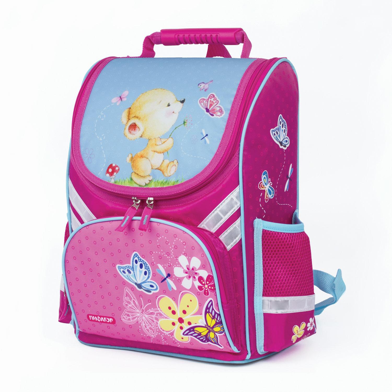 264ca862b654 Ранец для учениц начальной школы ПИФАГОР, Мишка с бабочкой, 36х28х15 см