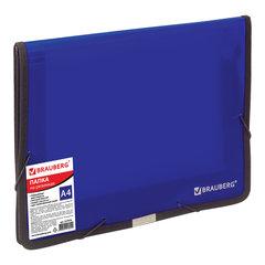 Папка на резинках BRAUBERG, широкая, А4, 330х240 мм, синяя, до 500 листов, 0,6 мм, 227978