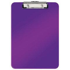 """Доска-планшет LEITZ """"WOW"""", с верхним прижимом, A4, 320х228 мм, пластик, 1,7 мм, фиолетовая"""