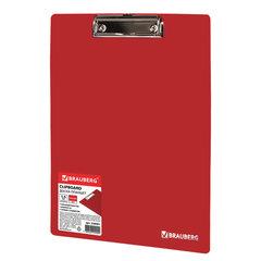 """Доска-планшет BRAUBERG """"Contract"""" сверхпрочная с прижимом А4 (313х225 мм), пластик, 1,5 мм, КРАСНАЯ, 228681"""