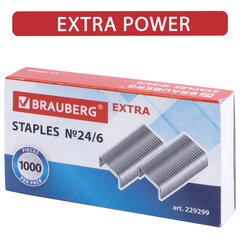 """Скобы для степлера цинковое покрытие №24/6, 1000 штук, BRAUBERG """"EXTRA"""", до 30 листов, 229299"""