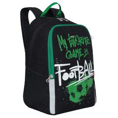 """Рюкзак GRIZZLY школьный, анатомическая спинка, черный, """"Football"""", 38x29x17 см, RB-051-2/1"""