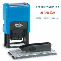 Датер самонаборный, 2 строки + дата, оттиск 41х24 мм, сине-красный, TRODAT 4755/4750, касса в комплекте, 4755