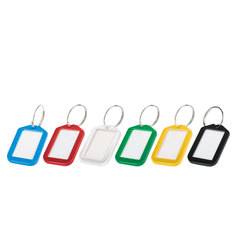 Бирки для ключей КОМПЛЕКТ 12 шт., длина 50 мм, инфо-окно 35х20 мм, АССОРТИ, BRAUBERG, 231152