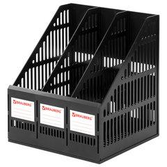 """Лоток вертикальный для бумаг BRAUBERG """"SMART-MAXI"""" (254х255х297 мм), 3 отделения, сетчатый, сборный, черный, 231525"""