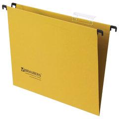 Подвесные папки А4 (350х245 мм), до 80 листов, КОМПЛЕКТ 10 шт., желтые, картон, BRAUBERG (Италия), 231790