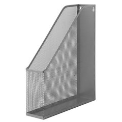 """Лоток вертикальный для бумаг BRAUBERG """"Germanium"""" (250х72х315 мм), металлический, серебряный"""