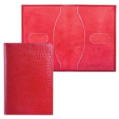 """Обложка для паспорта BEFLER """"Ящерица"""", натуральная кожа, тиснение, красная"""
