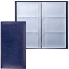 """Визитница трехрядная BRAUBERG """"Imperial"""", на 144 визитки, под гладкую кожу, темно-синяя"""