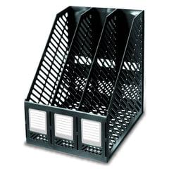 Лоток вертикальный для бумаг ERICH KRAUSE (260х225х290 мм), 3 отделения, сборный, черный, 13096