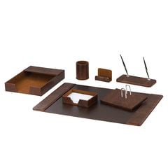 Набор GALANT настольный из экокожи, 7 предметов (под гладкую кожу, темно-коричневый)
