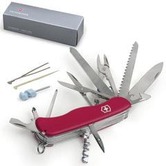 """Подарочный нож VICTORINOX """"Work champ"""", 111 мм, складной, с фиксирующимся лезвием, красный, 21 функция"""