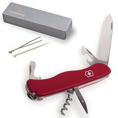 """Подарочный нож VICTORINOX """"Picknicker"""", 111 мм, складной, с фиксирующимся лезвием, красный, 11 функций"""
