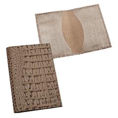"""Обложка для паспорта BEFLER """"Кайман"""", натуральная кожа, тиснение """"крокодил"""", бежевая"""