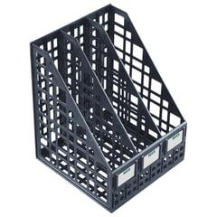 Лоток вертикальный для бумаг СТАММ, ширина 240 мм, 3 отделения, сетчатый, сборный, черный
