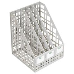 Лоток вертикальный для бумаг СТАММ, ширина 240 мм, 4 отделения, сетчатый, сборный, серый