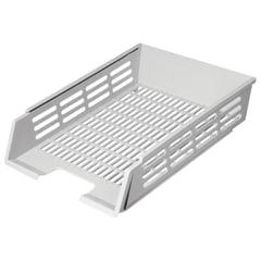 Лоток горизонтальный для бумаг СТАММ с пазами, А4 (360х270х80 мм), сетчатый, серый, ЛТ75