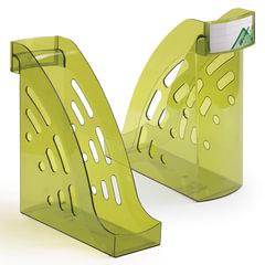 """Лоток вертикальный для бумаг СТАММ """"Торнадо"""", ширина 95 мм, тонированный зеленый лайм"""