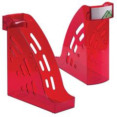"""Лоток вертикальный для бумаг СТАММ """"Торнадо"""", ширина 95 мм, тонированный темно-красный (вишня)"""