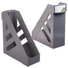 """Лоток вертикальный для бумаг СТАММ """"Ультра"""", ширина 100 мм, серый"""