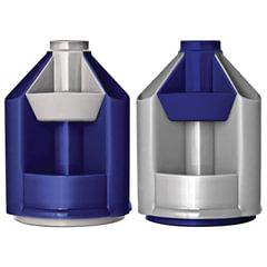 """Подставка-органайзер СТАММ """"Mini Desk"""", вращающаяся, 107х107х140 мм, 10 отделений, серый металлик/темно-синий"""