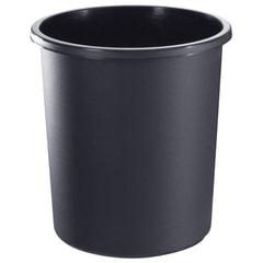 Корзина для бумаг БОЛЬШАЯ, 18 л, цельная, черная, СТАММ