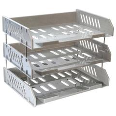"""Лотки горизонтальные для бумаг СТАММ, набор 3 шт., """"Сити"""", поперечные, на металлических стержнях 6 см, серые"""