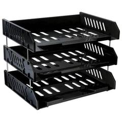 """Лотки горизонтальные для бумаг СТАММ, набор 3 шт., """"Сити"""", поперечные, на металлических стержнях 6 см, черные"""