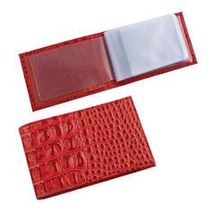 "Визитница карманная BEFLER ""Кайман"" на 40 визиток, натуральная кожа, крокодил, красная"