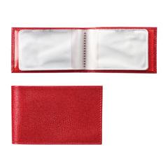 """Визитница карманная BEFLER """"Ящерица"""", на 40 визитных карт, натуральная кожа, тиснение, красная"""