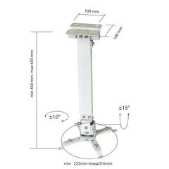 Кронштейн для проектора потолочный CLASSIC SOLUTION CS-PRS-2, 3 степени свободы, высота 43-65 см, 20 кг, белый