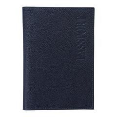 """Обложка для паспорта BEFLER """"Грейд"""", натуральная кожа, тиснение, синяя"""