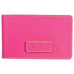 "Визитница карманная FABULA ""Ultra"", на 40 визиток, натуральная кожа, розовая"