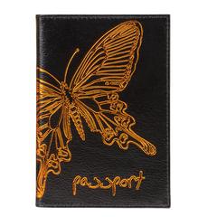 """Обложка для паспорта BEFLER """"Бабочка"""", натуральная кожа, тисненение-принт, черная, O.14.-11"""