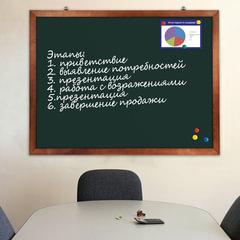 Доска для мела магнитная BRAUBERG, 90х120 см, зеленая, деревянная окрашенная рамка, Россия