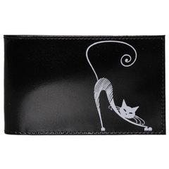 """Визитница карманная BEFLER """"Изящная кошка"""", на 40 визиток, натуральная кожа, тиснение, черная"""