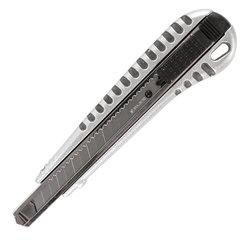 """Нож универсальный 9 мм BRAUBERG """"Metallic"""", металлический корпус (рифленый), автофиксатор, блистер, 236971"""