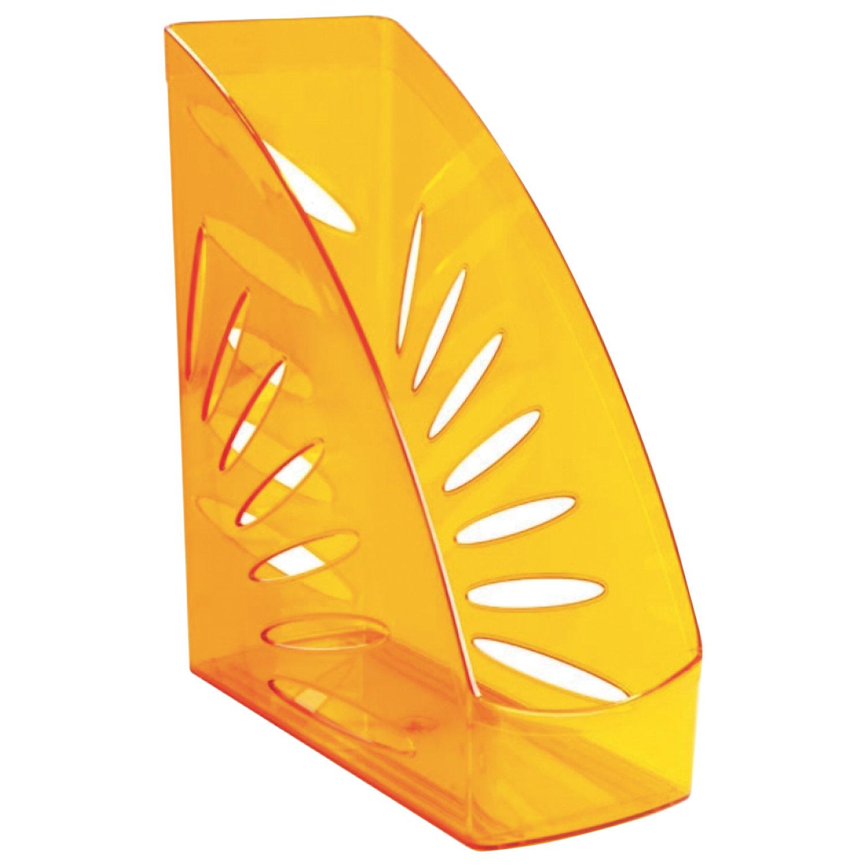 """Лоток вертикальный для бумаг СТАММ """"Тропик"""", ширина 110 мм, тонированный оранжевый"""