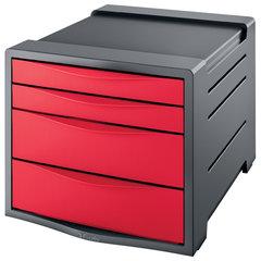 """Блок из 4 закрытых лотков для бумаги, настольный, ESSELTE """"VIVIDA"""", 285х245х365 мм, красный"""