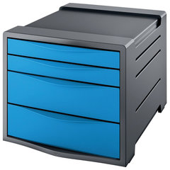 """Блок из 4 закрытых лотков для бумаги, настольный, ESSELTE """"VIVIDA"""", 285х245х365 мм, синий"""
